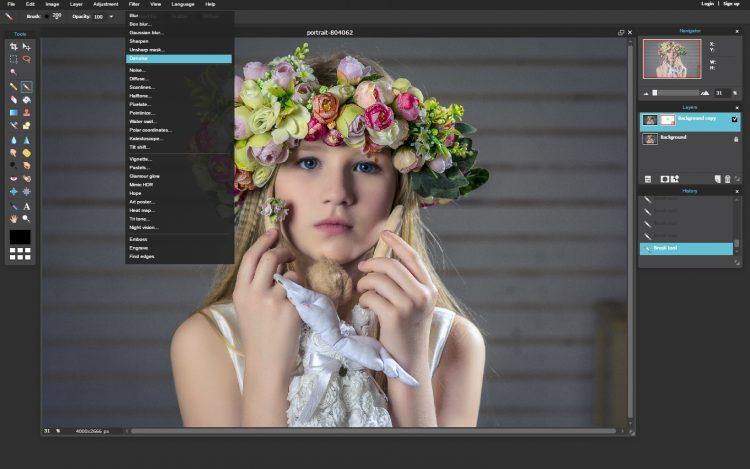 Online képszerkesztő képernyőkép